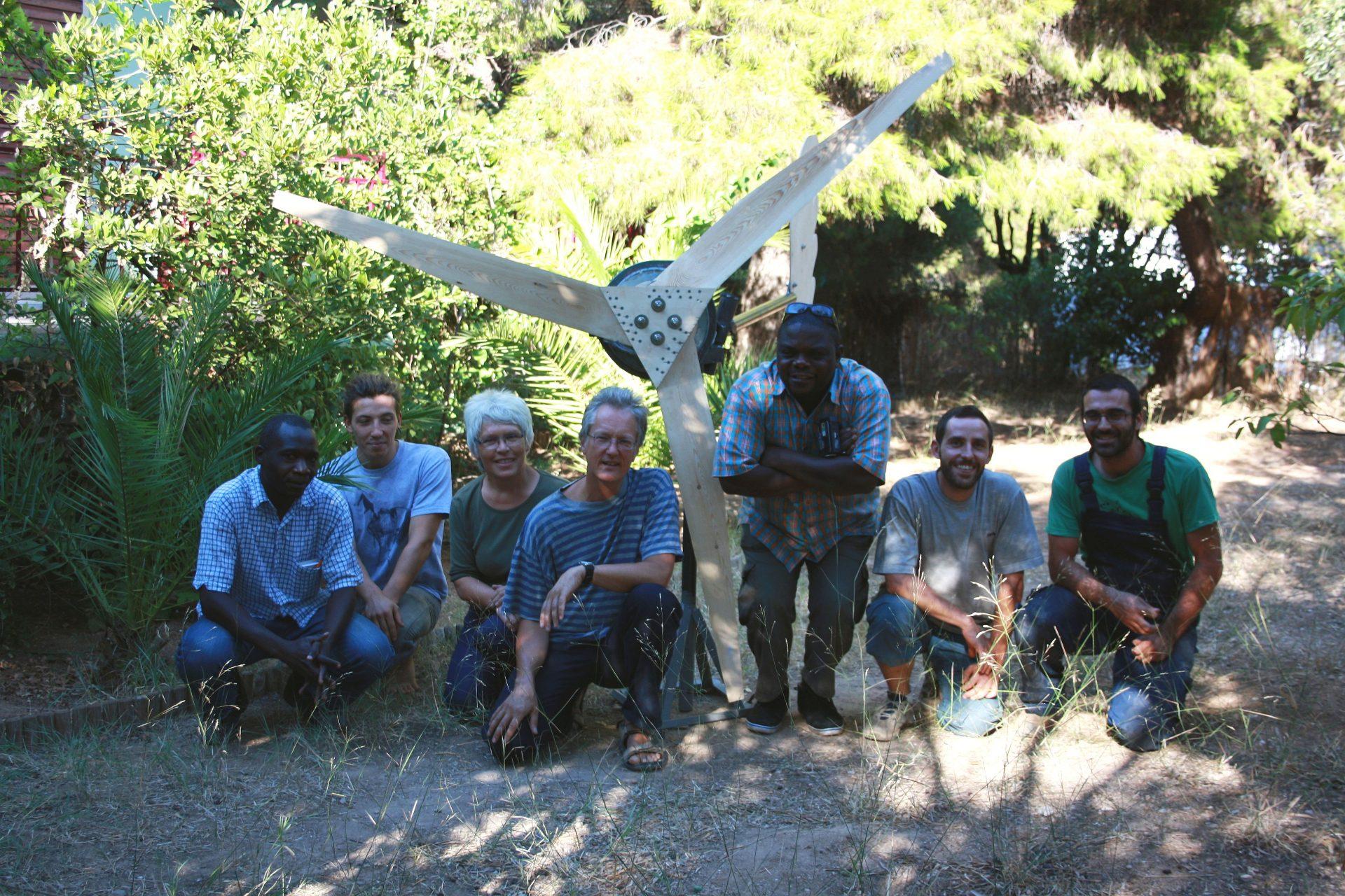 group photo with turbine